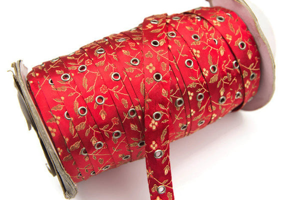 Red Floral Satin Brocade Grommet Tape Trim with Nickel Eyelet by the yard ATN00702