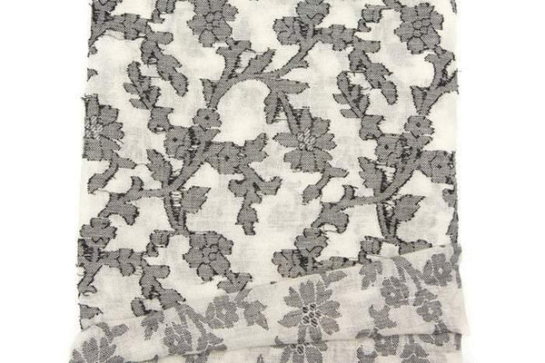 Black and Off White Floral Fancy Embroidered Gauze Fabric by the Yard ATW00060