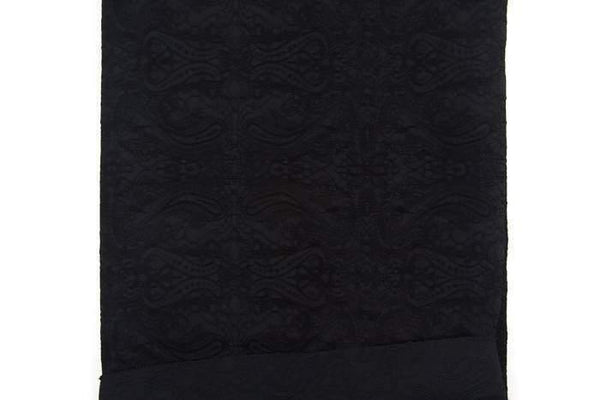 Black Embroidered Stretch Cotton Blend Faille Woven Fabric by the yard ATW00079R