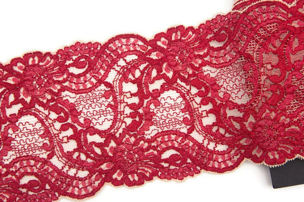 Red and Ecru Wide Floral Stretch Lace Trim by the yard SLT00109