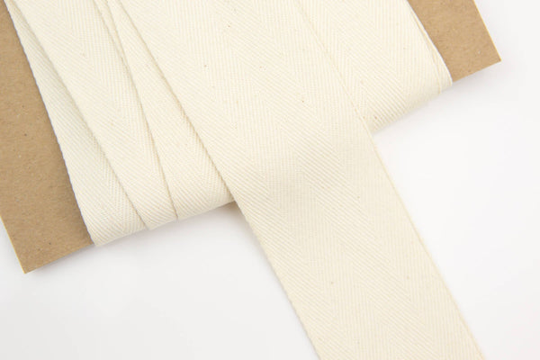 Natural Undyed Wide Cotton Twill Tape Herringbone Tape Trim 1-3/8 inches width x 5 yards ATN00883