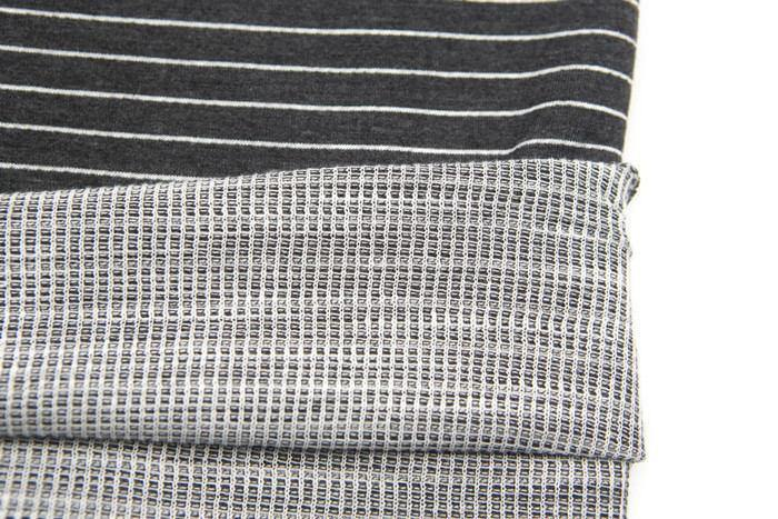 Gray and Off White Stripe Double Face Knit Fabric by the yard Extra Wide STK00217R