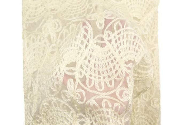 Cream Fancy Embroidered Mesh with Glitter Fabric by the yard LMS00136R