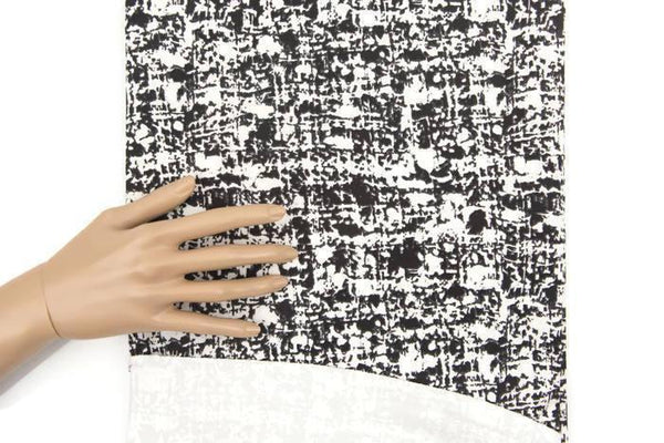 Black and Off White Graphic Stretch Mini Corduroy Woven Fabric by the yard ATW00086R