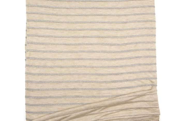 Beige and Metallic Silver Plated Stripe Sweater Knit Fabric 3/4 yard Extra Wide OSK00815
