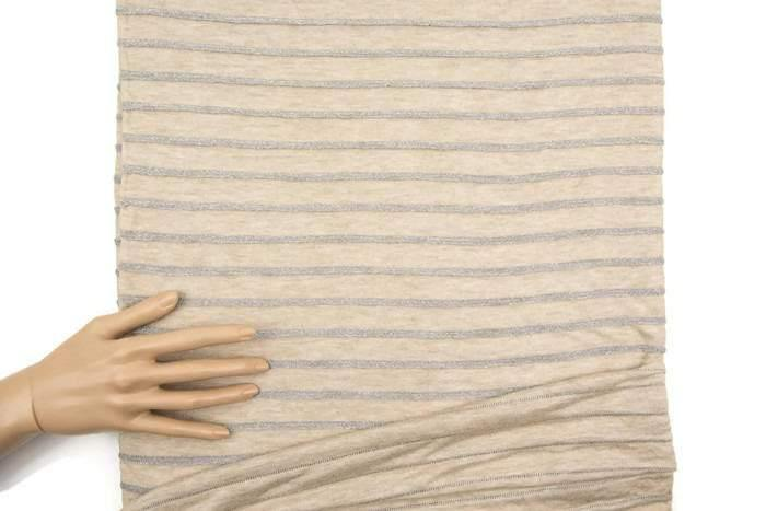 Beige and Metallic Silver Plated Stripe Sweater Knit Fabric 3/4 yard Extra Wide - Felinus Fabrics