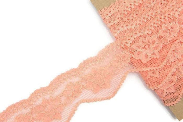 Coral Pink Floral Stretch Lace Trim 4 yards and 20 inches SLT00112