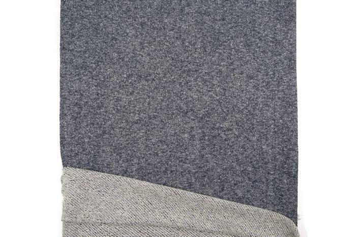 Heather Dark Blue Metallic Silver and Off White French Terry Knit Fabric by the yard Extra Wide FTK00408R