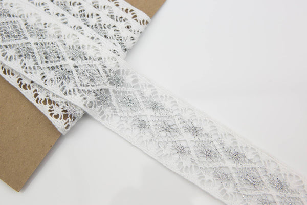 White and Metallic Silver Cotton Lace Trim 2 yards and 28 inches NLT00213