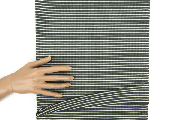 Olive Green and Off White Narrow Stripe Rib Knit Jersey Fabric by the yard STK00238R
