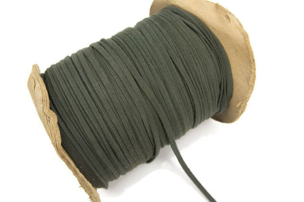 Olive Green Flat Shoe String Trim Cord Strap Tube Tubular Hollow 5 yards ATN00626