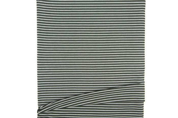Olive Green and Off White Narrow Stripe Rib Knit Jersey Fabric 1 yard STK00234