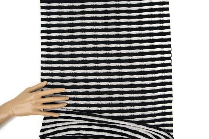 Black and Off White Wavy Stripe Sweater Knit Fabric 1 yard Extra Wide OSK00845