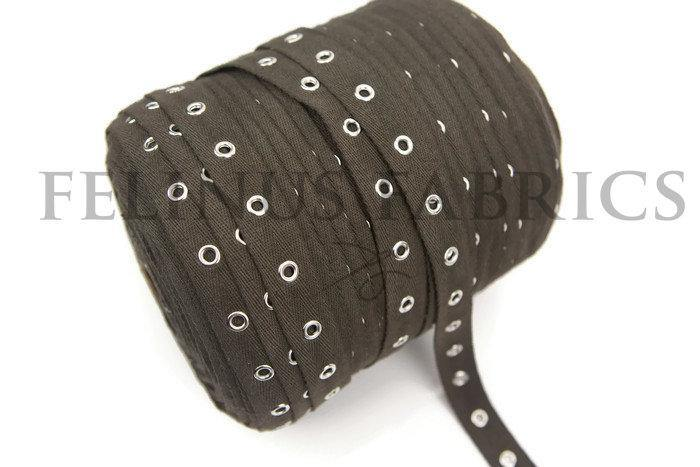 1.5 yards Dark Olive Brown Grommet Tape with Nickel Eyelet Cotton Twill Tape on Trim