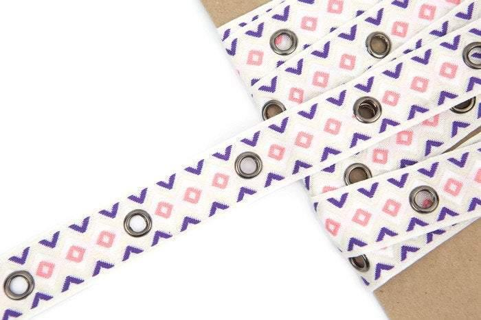 Cream Pink and Purple Chevron Large Grommet Tape Eyelet Tape Trim  2 yards and 14 inches ATN00540