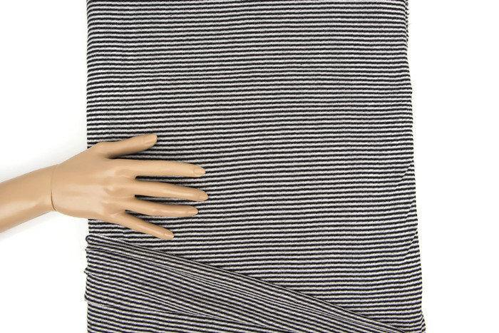 Black and White Narrow Stripe Light Weight Rib Sweater Knit Fabric by the yard OSK00858