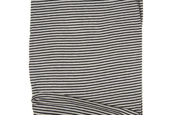 Black and Heather Gray Narrow Stripe Rib Knit Jersey Fabric by the yard STK00249R