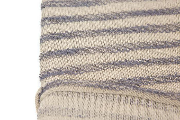 Taupe and Lavender Terry Stripe Sweater Knit Fabric 1 yard 22 inches OSK00986