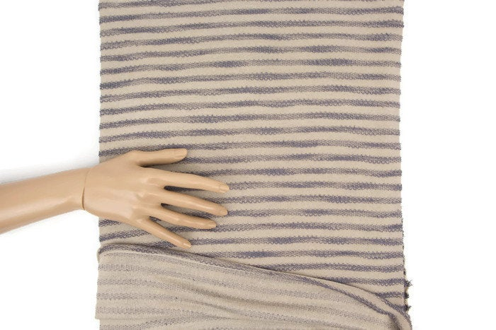 Taupe and Lavender Terry Stripe Sweater Knit Fabric by the yard OSK00866R