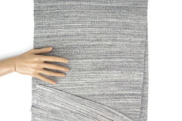 Heather Gray and Off White Double Face Reversible Waffle Knit Fabric 1 yard ATK00355