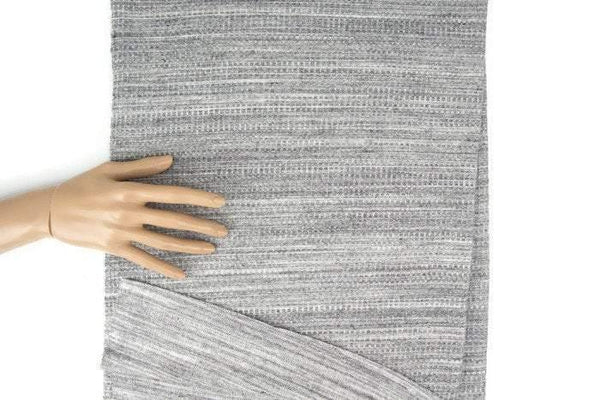 Heather Gray and Off White Double Face Reversible Waffle Knit Fabric 32 inches length ATK00353
