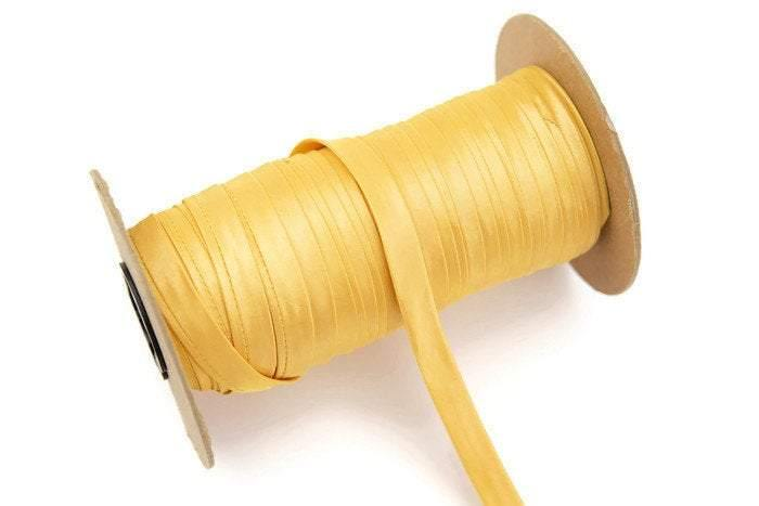 Yellow Taffeta Trim Spaghetti Straps Hollow Tube Tubular 1/2 inch width 5 yards ATN00633