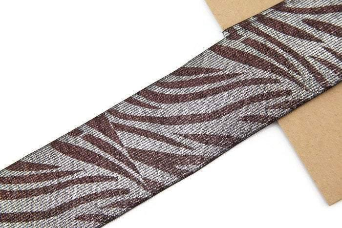 Metallic Brown and Silver Zebra Print Elastic Band Elastic Trim Wide 2.75 inches width 34 inches length ELT00018