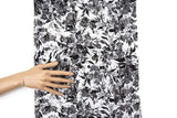 Black and Off White Floral Stretch Lace Fabric 43 inches length LMS00158