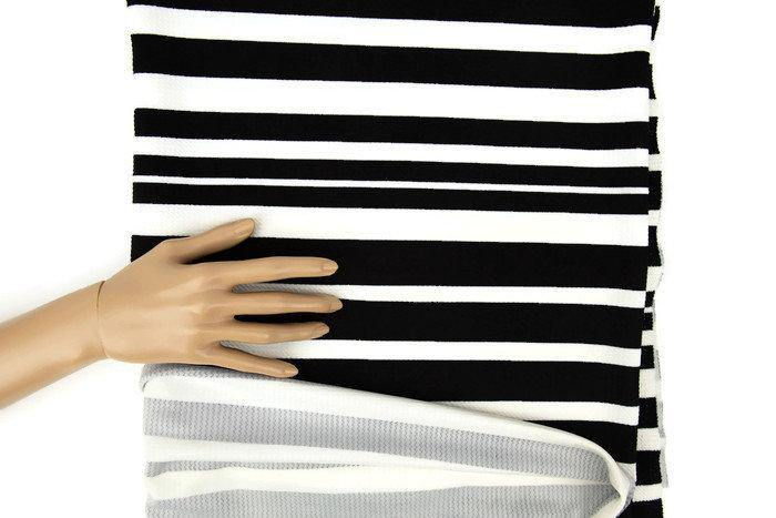 Black and Off White Stripe Cloque Ponte Knit 1 yard and 14 inches PDK00558