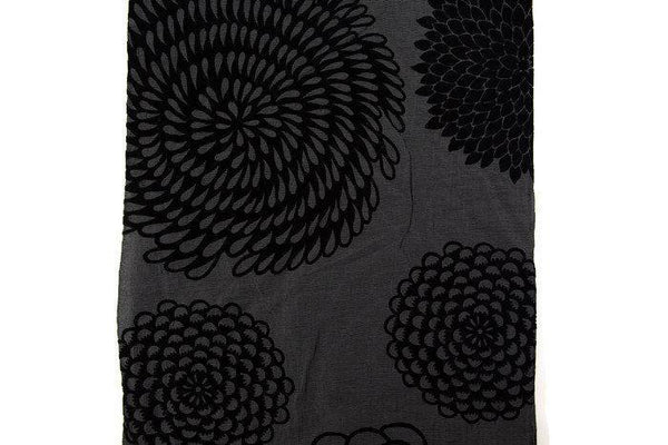 Black Fancy Floral Organza Like Flocked Light Weight Woven Fabric by the yard LWW00193