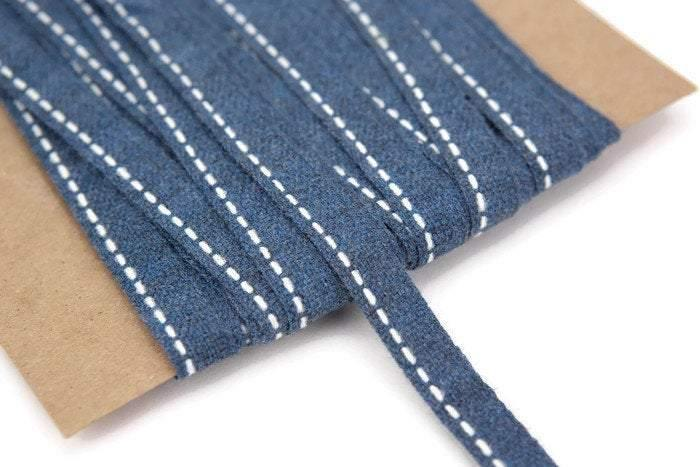 Blue Wool Blend Trim Dash Stripe Ribbon 15 yards ATN00695