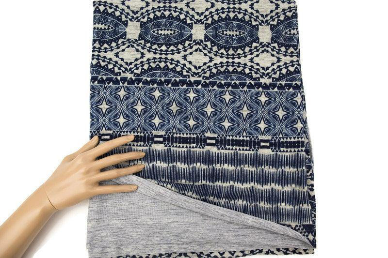 Navy and Off White Boho Star Print Brushed Sweater Knit Fabric 1 yard and 16 inches OSK00910