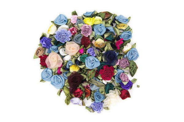 120 Mini Fabric Flowers Tiny Flowers Floral Assortment Variety Pack NTN00002
