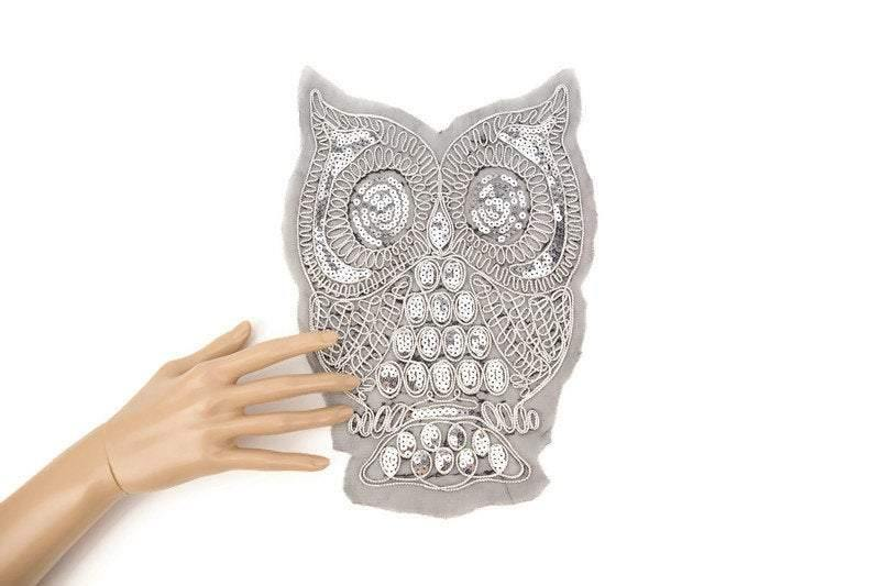 Gold and Silver Owl Embroidered and Sequined Applique on Black Mesh APP00151