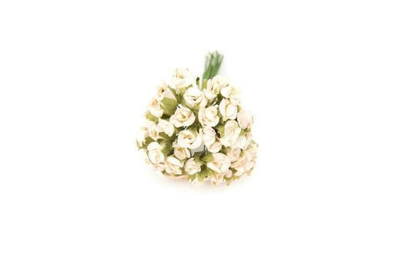 Mini Off White and Pale Pink Paper Flowers Tiny Paper Flowers 48 Pieces NTN00004