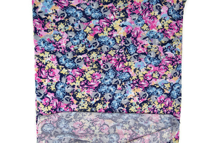 Pink and Blue Floral Print Knit Jersey Fabric 1 yard PDK00556