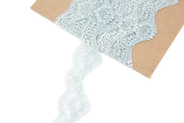 Seafoam Floral Scalloped Stretch Lace Trim 1.5 Inches Width 6 yards SLT00174