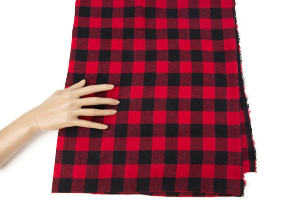 Red and Black Buffalo Plaid Flannel Plaid Fabric Brushed  by the yard ATW00105R