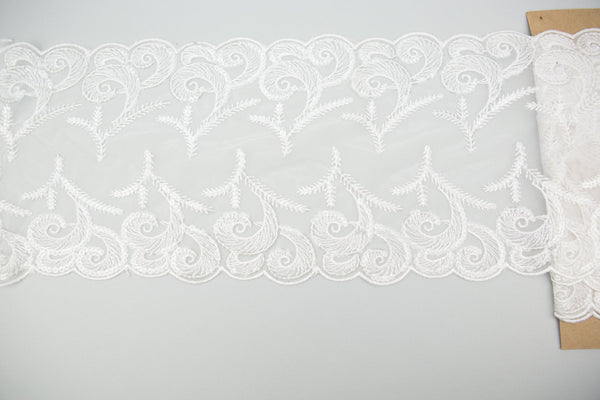 White and Clear Sequined Wide Lace Trim 8-1/8 inches width x 1 yard and 17 inches length NLT00335