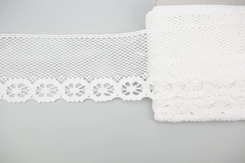 White Floral Crochet Style Cotton Lace Trim 4-5/8 inches width by the yard NLT00334
