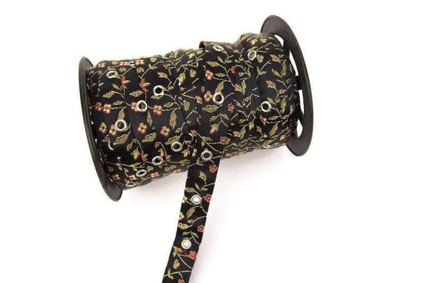 Black Floral Satin Brocade Grommet Tape Trim with Nickel Eyelet by the yard ATN00711