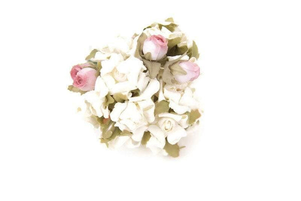 Mini Cream and Pink Variety Paper Flowers Tiny Paper Flowers 24 Pieces NTN00005
