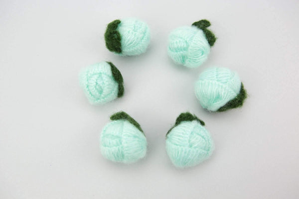 Mint Rounded Flower Knit Crochet 6 Pieces for Newborn Headbands Toddlers Accessories  NTN00006