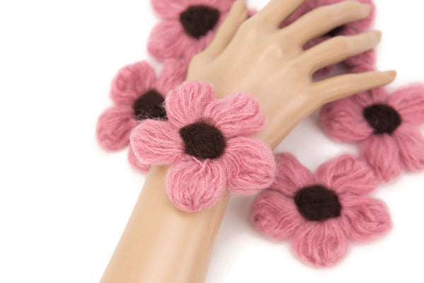Pink and Brown Flower Knit Crochet 6 Pieces for Newborn Headbands Toddlers Accessories Doll Clothing  NTN00008
