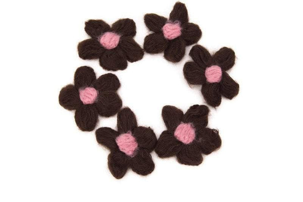 Brown and Pink Flower Knit Crochet 6 Pieces for Newborn Headbands Toddlers Accessories Doll Clothing  NTN00007