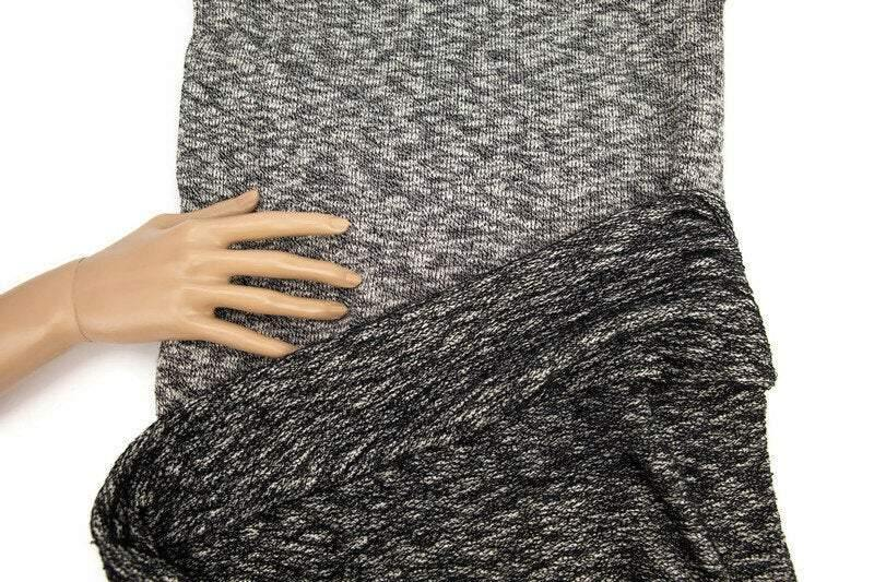 Heather Black and Cream Sweater Terry Knit Fabric Tube 1 yard OSK00974