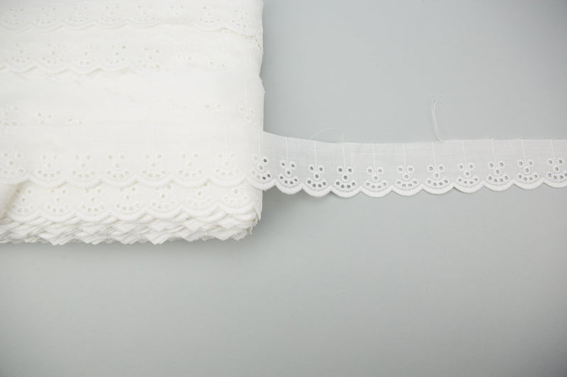 Off White Cotton Eyelet Lace Trim 2.25 inches width x 4 yards NLT00333B