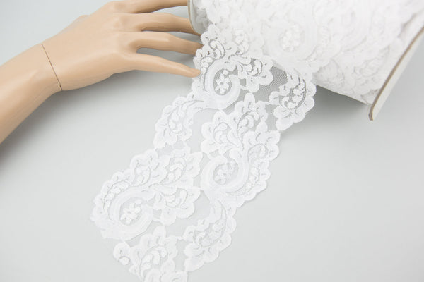 White Floral Lace Trim 4-5/8 inches width by the yard NLT00332