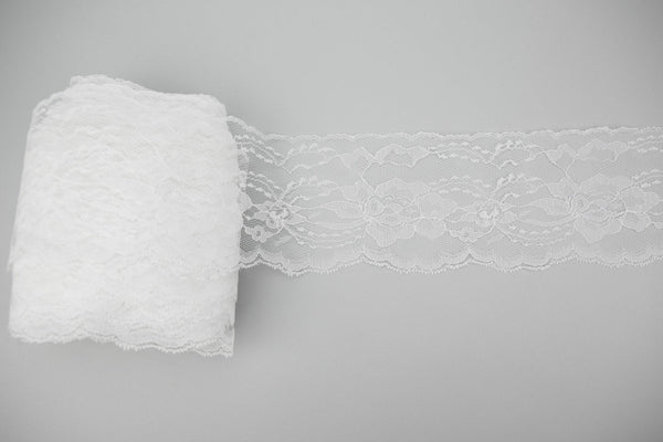 White Floral Lace Trim 4.25 inches width x 4 yards NLT00350