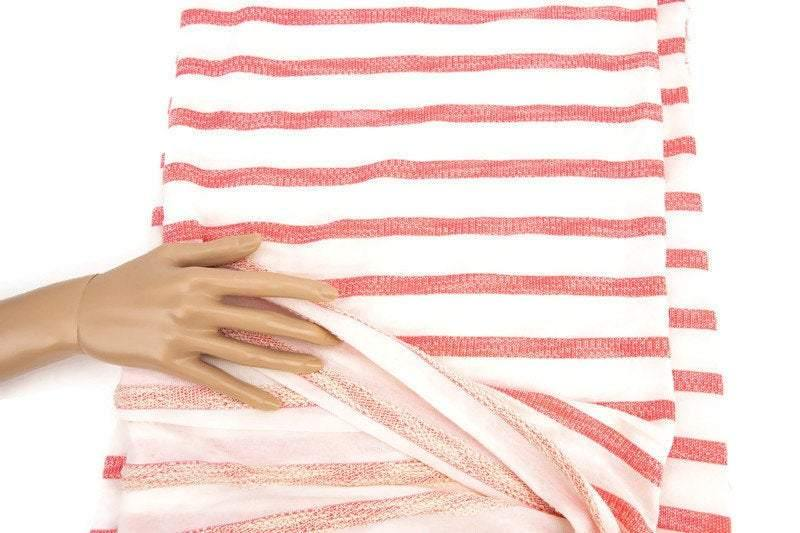 Coral and Cream Stripe French Terry Sweater Knit Fabric 1 yard 25 inches length Extra Wide FTK00692